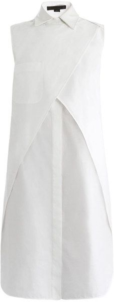 Alexander Wang Wrap Shirt Dress - This white cotton sleeveless shirt dress has a white textured leather point-collar and a wrap-front detail. The loose-fitting dress has a buttoned centre-front fastening, a chest patch-pocket and a cut-out back detail.