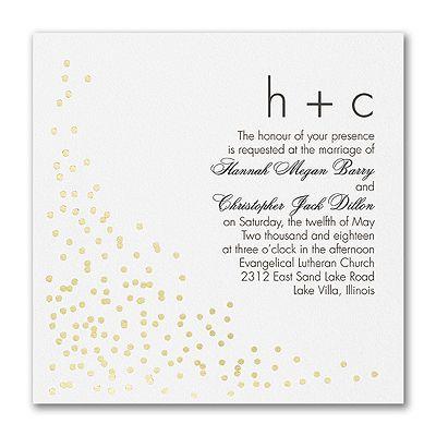 Confetti Toss White Square Wedding Invitation With Gold Accents!  Http://partyblockinvitations.