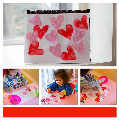 Tissue paper and liquid starch are used to make this fun open ended Valentine's Day art project!