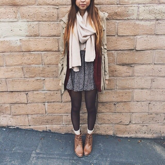 vanilla scarf + tan jacket + floral printed skirt + black tights + white ankle socks + light-colored leather ankle boots