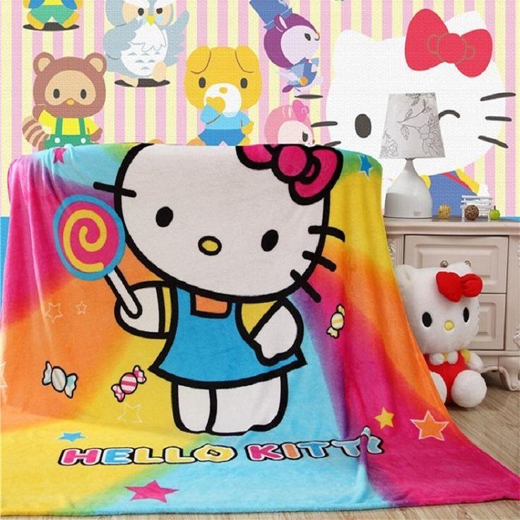 Горячие Продажи Фланелевое Одеяло, 150x200 см Розовый Hello Kitty Шаблон Диван Бросить Одеяло Кровать Одеяло Плед Одеяла Детей взрослых Одеяло купить на AliExpress