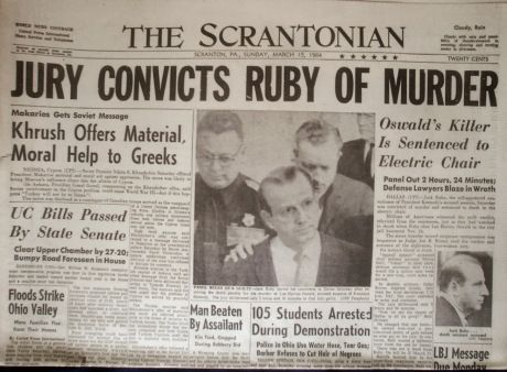 *RUBY~convicted of murder w/malice on 3/14/64+sentenced to death.But a successful appeal,on the basis of being denied a change of venue from Dallas where publicity would prevent an impartial jury,was granted on 10/5/66+his conviction+death sentence were overturned.Arrangements were underway for a new trial to be held,2/67inWichitaFalls,TX, 12/9/66.Ruby was admitted toParkland Hosp. for pneumonia.A day later,doctors realized he had cancer in his liver,lungs+brain.Dying of a pulmonary…