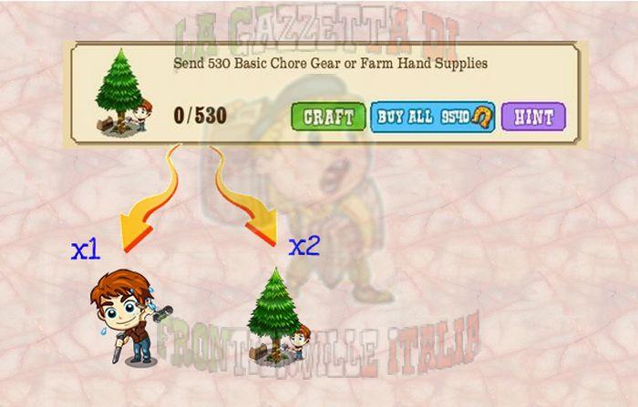 Nella missione wrapper dobbiamo inviare 530 oggetti agli amici; mentre Basic Chore Gear vale per 1, Farm Hand Supply  valgono per 2.