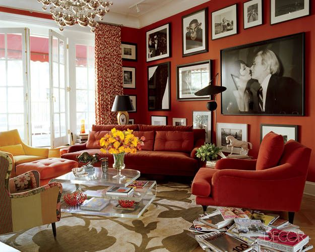 As you may or may not know  I love red  Whether it s red walls  red  crockery or red sheets  I love them all  These red rooms from Elle Decor  are tastefully  26 best The Best Red   Pink Decor images on Pinterest   Bedrooms  . Red Room Decor. Home Design Ideas