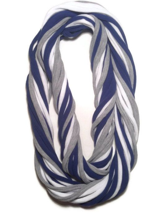 Dallas Cowboys Loopy Infinity Scarf - Upcycled from Recycled Tshirts - Blue Gray White Football Jersey Necklace on Etsy, $15.00