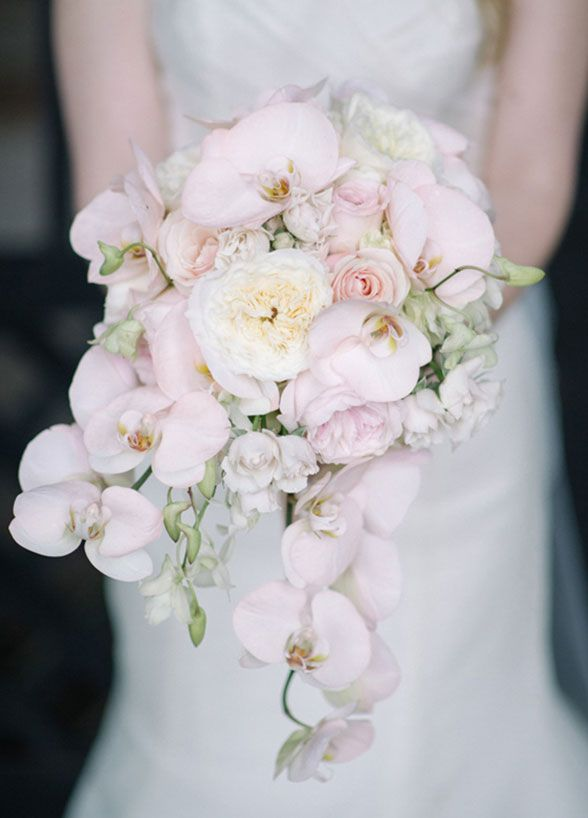 9. Orchids. This chic flower has stolen our heart. Undeniably elegant, there are few things with love more than a waterfall bouquet of classic orchids. #WeddingBouquet