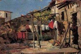 CORTILE DI CASA 1905, Mario Delitala, Sardegna