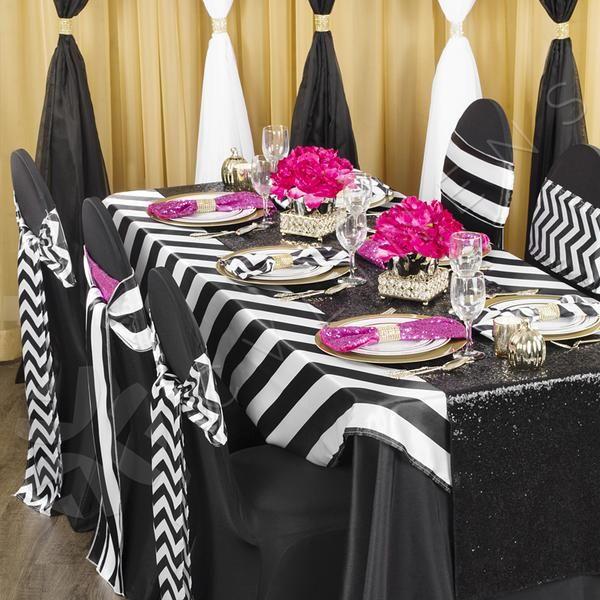 Stripe 54 X54 Satin Square Table Overlay Black White In 2020
