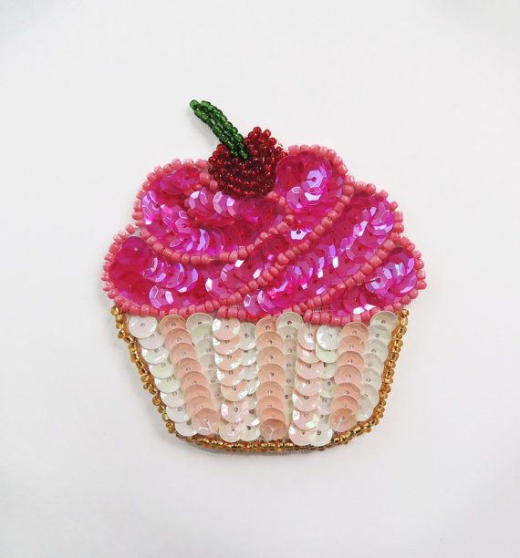 sweet CUPCAKE with cherry on top sequin and beads applique patch Measures aproximately 7 cm x 7.5 cm or 2.7 inches x 2.9 inches Easy to sew on or