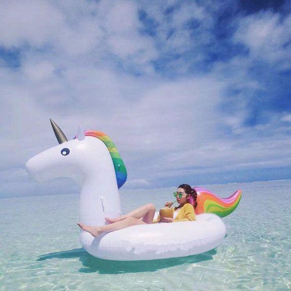 Zwembad speelgoed witte opblaasbare Unicorn Pegasus door Airzeta