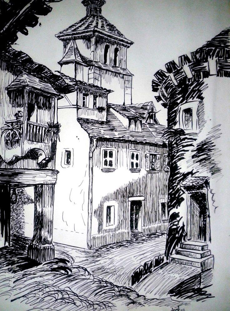 Barrio mediterráneo Tinta china