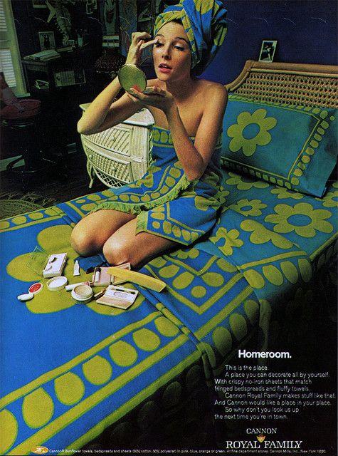 A Pop of Pretty: Canadian Decorating Blog - http://apopofpretty.com/1960s-home-decor-ad-vintage-sheets/