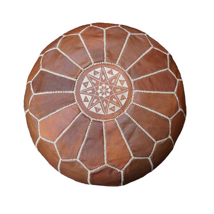 moroccan pouffe ottoman genuine dark tan leather valuca home pinterest ottomans ottoman. Black Bedroom Furniture Sets. Home Design Ideas