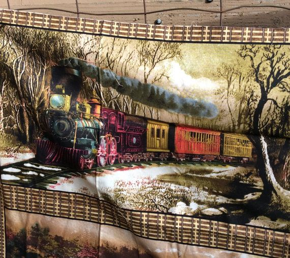 Train And Railroad Vintage Quilting Fabric Panel