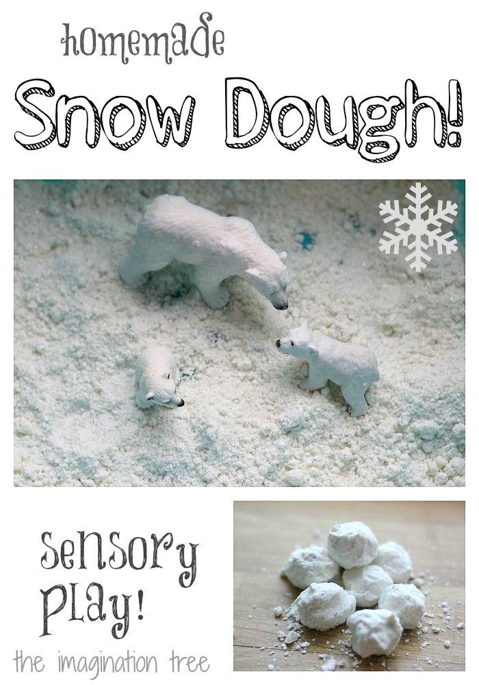 Schnee aus Salzteig. Maizena und Pflanzenöl ergeben künstlichen Schnee zum spielen. Geeignet für den Kindergarten. Eine gute Idee für  Kindergärtnerinnen