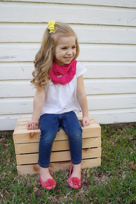 Infinity Ruffle Scarf for Kids and Toddlers - Bright Pink - Light Weight Infinity Scarf