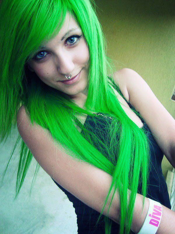 Green hair :) nothing else matters. but my DUMB MOM WONT LET ME BLEACH IT SO I CAN GET THE COLORS I WANT