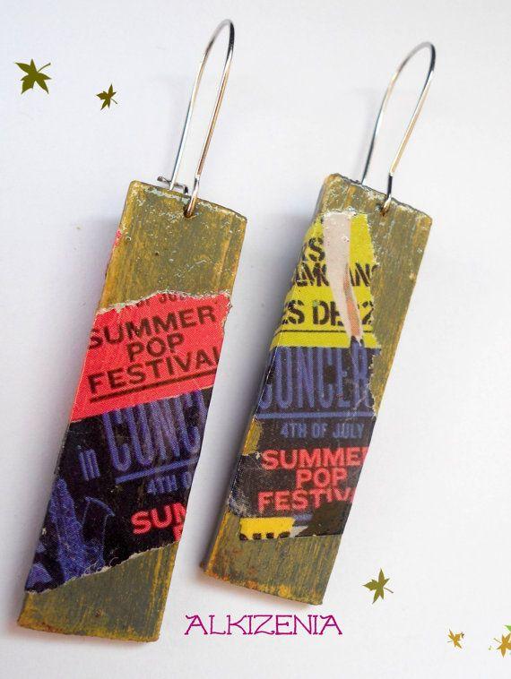 Wood decoupage earrings-handpainted by Alkizenia on Etsy