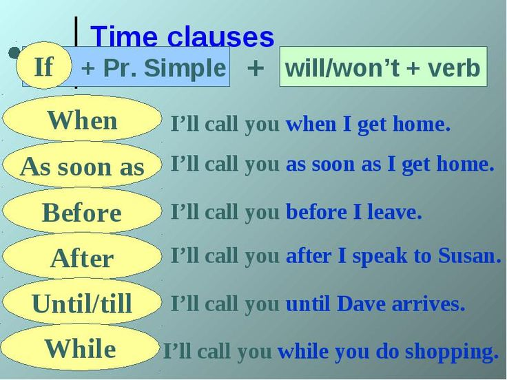 Time Clauses conditionals grammar
