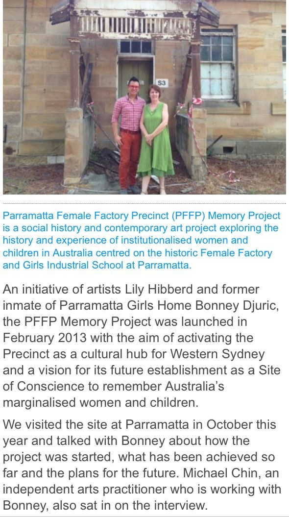 http://www.arts.nsw.gov.au/index.php/arts-in-nsw/artistic-and-cultural-showcase/parramatta-female-factory-precinct-memory-project/ #PFFP #Parramatta #History #NSW #ArtsNSW #MemoryProject #Art #Australian #Heritage #Australia #Convict #Convicts #ParraGirls #Kambala #GirlsHome #Community #LDS #Church #ChildrensDay #MemorialGarden #SiteofConscience