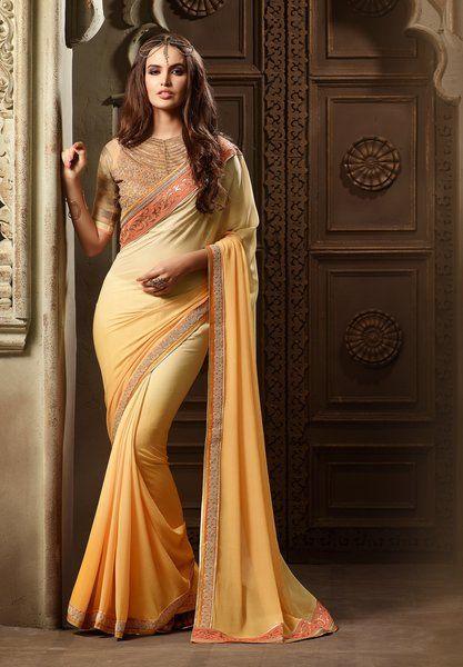 Designer Yellow-Orange Pedding Georgette  Saree With Bangalori Silk and Net Blouse With Fabric