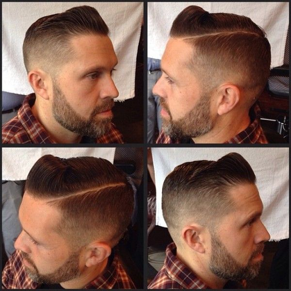 Fade and Pompadour... Loving the fade. So updated and cool. The 50/60's pomp reinvented. NICE