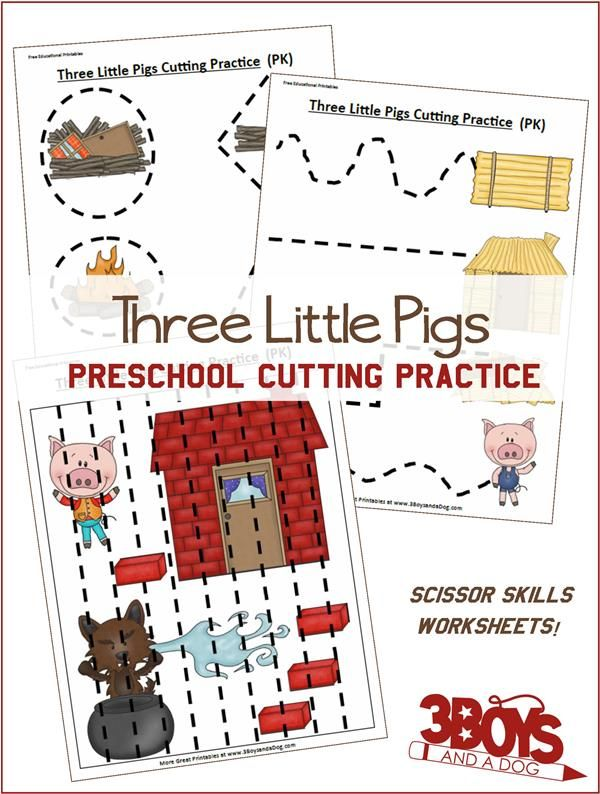 Three Little Pigs Preschool Cutting Practiceworksheets will help your Toddler, Preschool, and Kindergarten children work on dexterity, scissor skills, and fine motor skills. Plus, they are fun and adorable!