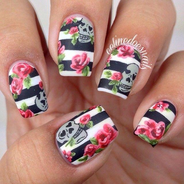 2014 new year nails design: Flower And Skull Nail Art ~ fixstik.com Nail Designs Inspiration