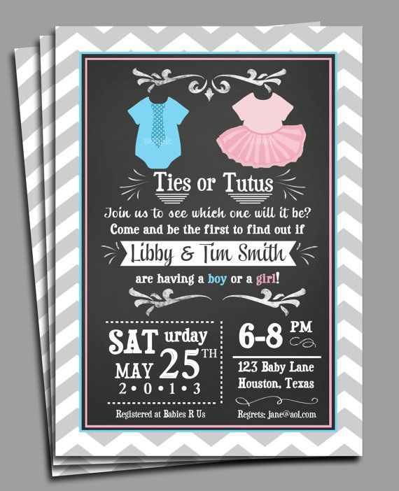 Gender Reveal Invitation Printable - Sibling First Birthday, Twins Baby Shower - Ties or Tutus on Etsy, $15.00