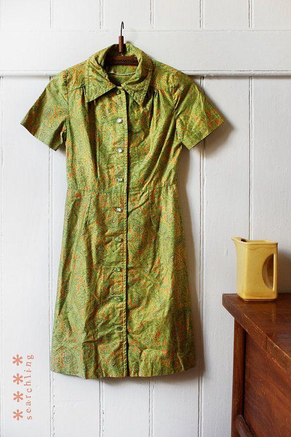 1960's Lime Green Paisley dress - Small