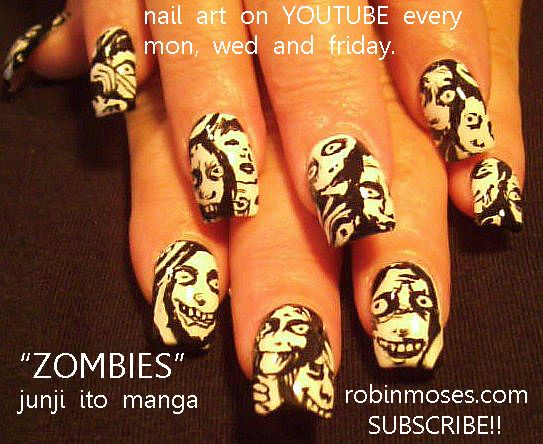 166 best halloween nail art pictures with tutorials images on nail art by robin moses zombies httpyoutube prinsesfo Gallery