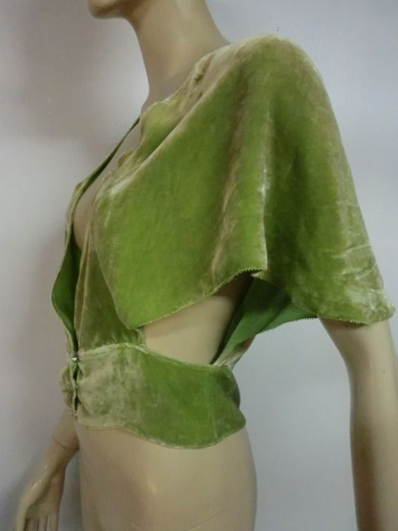 1stdibs | 1920's Art Deco Pistachio Silk Velvet Evening Bolero
