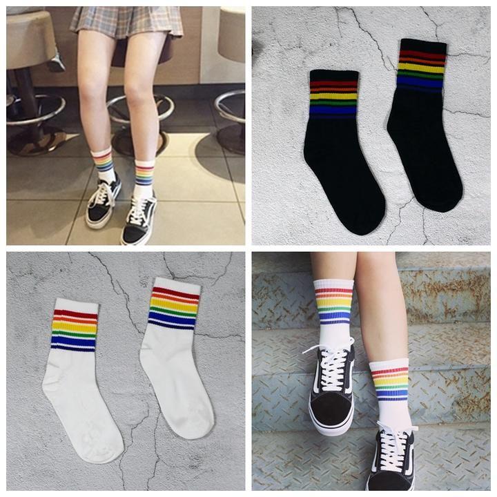 kaifongfu Girls Football Socks Thigh High Socks Over Knee Rainbow Stripe Girls Football Socks 1Pair