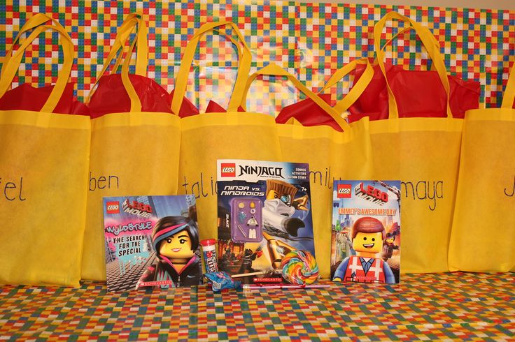 Lego theme party Loot Bags :  Reuseable Book bags with Lego books