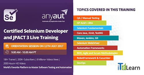 """It is a tailor-made training program for Automation Test Engineers to master core testing tools and concepts. Register here- http://itelearn.com/certified-selenium-developer/ Date & Time: 11th July at 9.00 AM Pacific / 9.30 PM IST  Also, join our event on FB and LinkedIn to get regular updates. Facebook Event: https://www.facebook.com/events/124924624758273/ Linkedin Event: https://www.linkedin.com/organization/3585755/admin/updates"""""""