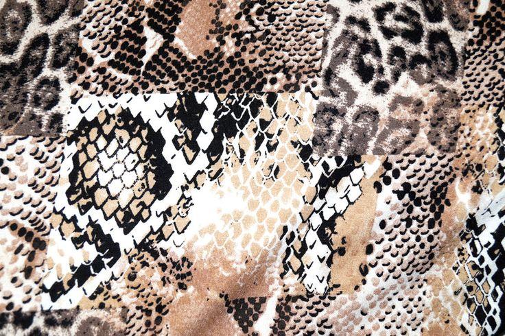 NB16 8145-058 Tricot patch dierenprint zwart/grijs/camel