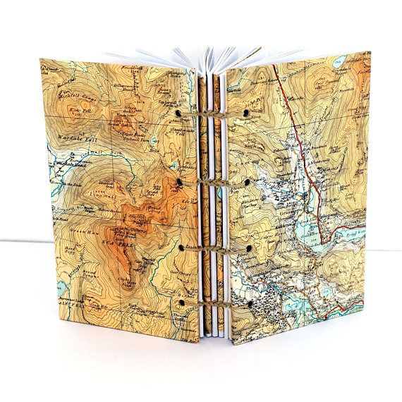 English Lake District Map Journal Recycled Map Notebook