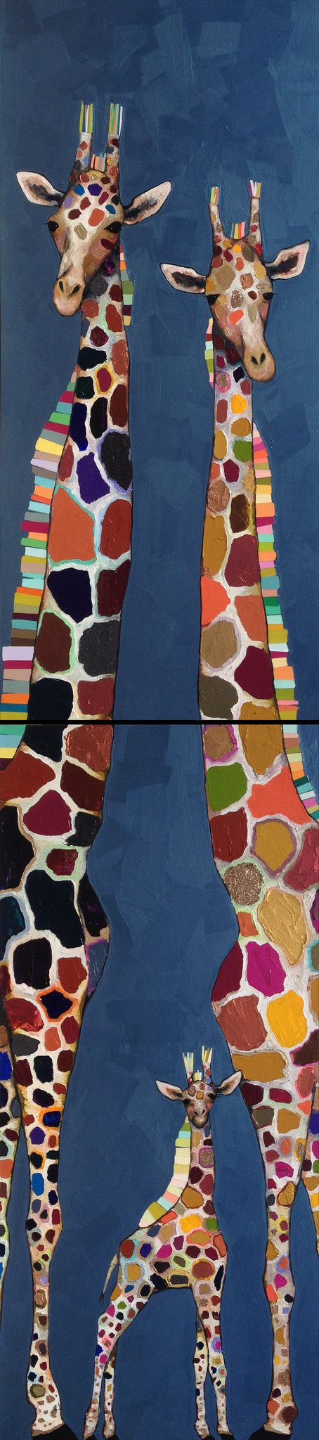 Super Tall Giraffe Family in Metallic Blue by Eli Halpin prints available at http://elihalpin.com/products/octopus-diptych-canvas-reproduction