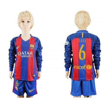 Barcelona Trøje Børn 16-17 #Xavi 6 Hjemmebanetrøje Lange ærmer.222,01KR.shirtshopservice@gmail.com