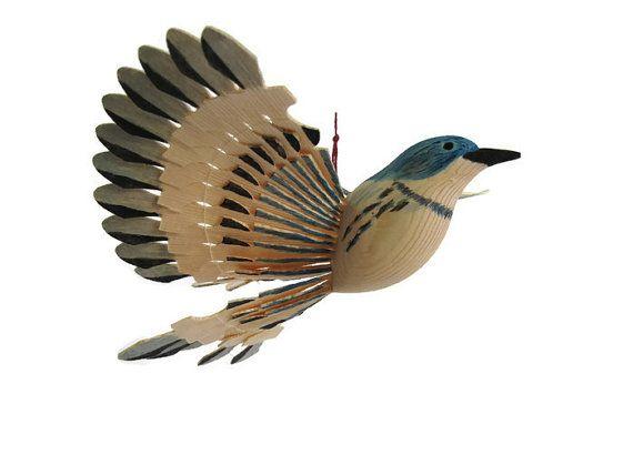 Hand Carved Cerulean Warbler Wooden Fan Bird by MyFanbirds on Etsy