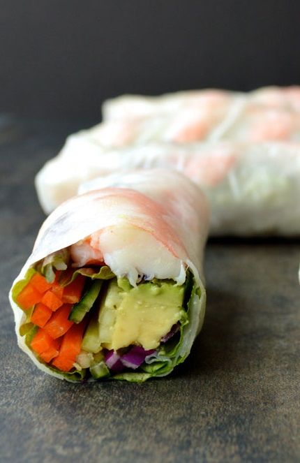 SHRIMP, AVOCADO, CABBAGE, CARROT, LETTUCE, CUCUMBER, HERB & CELLOPHANE NOODLE GOI CUON [myinvisiblecrown] [Vietnam, Modern] [goi cuon, nem cuon, banh trang cuon, nime chao, nama harumaki, summer roll, rice paper roll, vietnamese spring roll, salad roll, fresh roll, crystal roll, soft roll] [shrimp prawn]