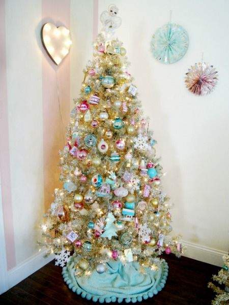 pastel ornaments on a champagne Christmas tree/ Everyday is a Holiday blog