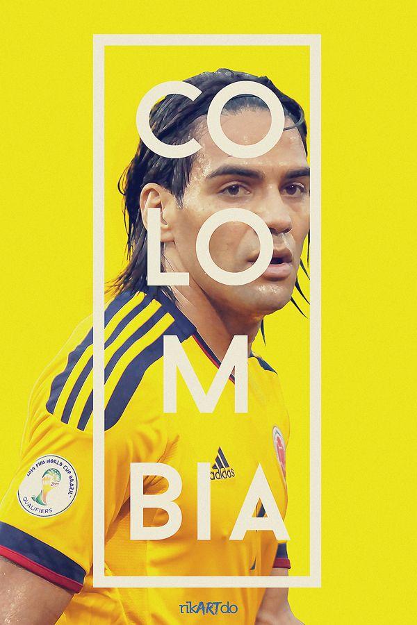 Afiche de la Selección de Fútbol de Colombia - Falcao - Brasil 2014 by rikartdo Ricardo Mondragón.