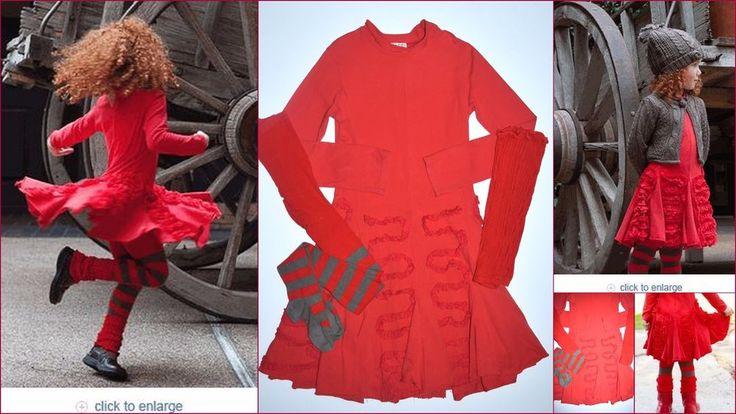 Eliane et Lena Boutique 10 Roza Knit Rouge Red Dress Tights Leg Warmers JP1 #ElianeetLena #Dress