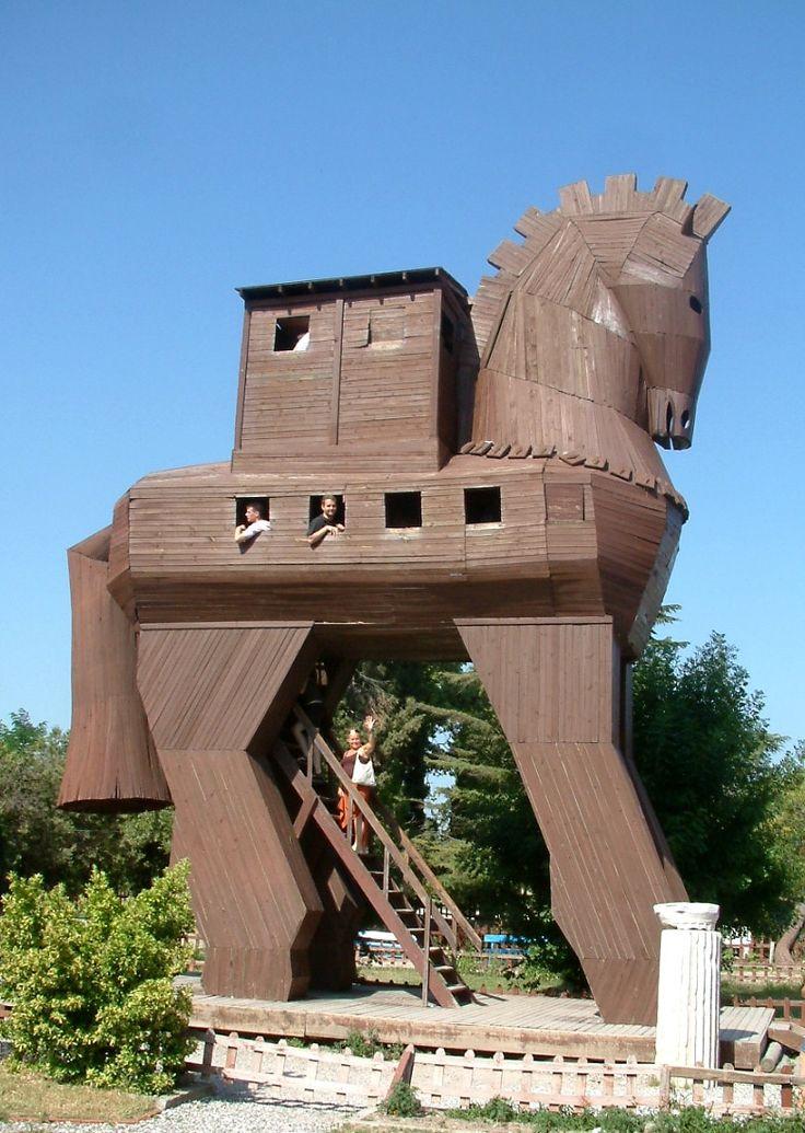 STRANGE CHILDRENS PLAYGROUND EQUIPMENT - HUGE 4 STORY TROJAN HORSE!