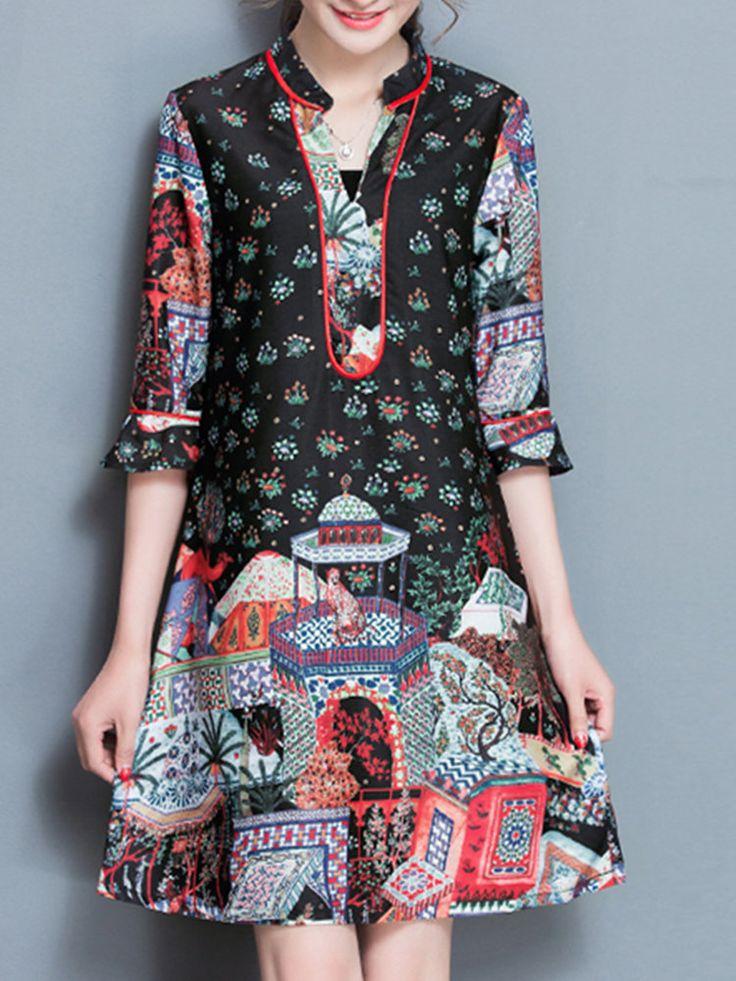 Vintage Women Ethnic Printed V-Neck Half Sleeve A-Line Silk Dresses
