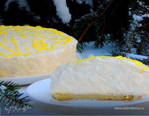 Шифоновый лимонный торт-суфле. Ингредиенты: мука, миндальная мука, яичные желтки