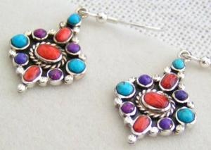 Multi Color Native American Navajo Drop earrings in sterling silver. The stones in the earrings are Mohave purple Kingman turquoise, natural blue Kingman turquoise and Natural red Apple Coral.: Kingman Turquoise, Drop Earrings, Blue Kingman, Multi Color, Color Native, Mohave Purple, American Navajo, Native American