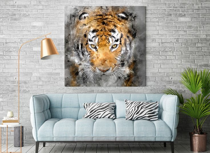 Prices starts with 15 EUR/$. New project by Hog studio (hogstudio.design@gmail.com) Tiger - available as a canvas or Poster.   #cat #tiger #poster #art #canvas #paint #interiors #grey #modern #design