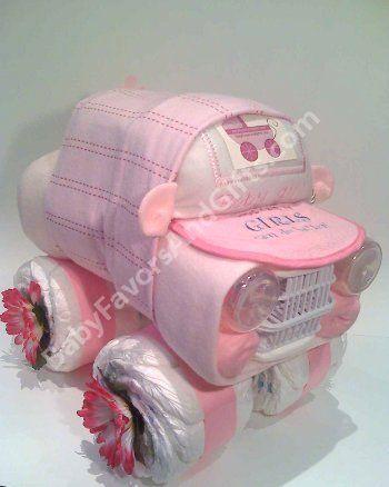 Unique Diaper Cakes, Baby shower gifts, centerpieces, table decorations, favors: Car Diaper Cake/Centerpiece/Baby Shower gifts